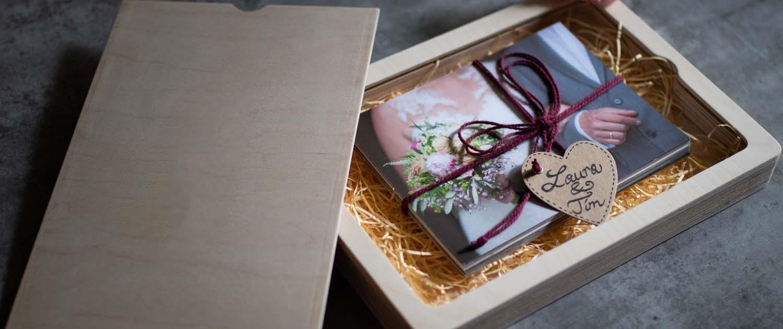 Hochzeit Holzbox mit Abzügen